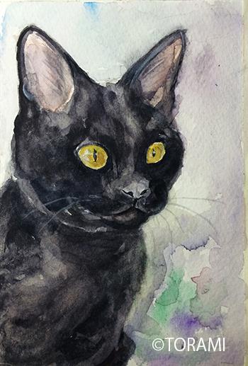 水彩で黒猫に挑戦!