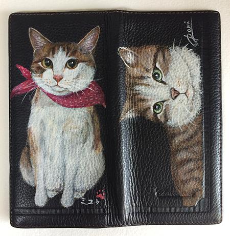 手描き猫の財布