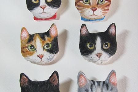 猫顔の布ブローチ♪