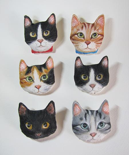 手作り猫ブローチ