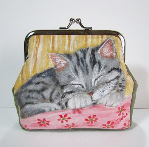 猫絵がま口ポーチ